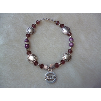 Purple Silver Circles Beaded Diabetic Charm Bracelet