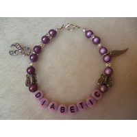 Pink Purple Silver Angel Wing Ribbon Diabetic Charm Bracelet