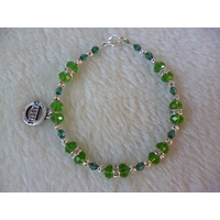 Green Silver Sparkle Beaded Diabetic Charm Bracelet