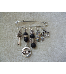 Black Silver Diabetic Kilt Pin Brooch