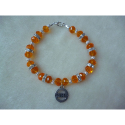 Orange Silver Sparkle Beaded Diabetic Charm Bracelet