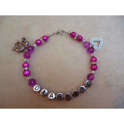 Hot Pink Heart Elephant Diabetic Charm Bracelet