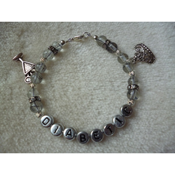 Clear Silver Cocktail Glass Tiara Diabetic Charm Bracelet